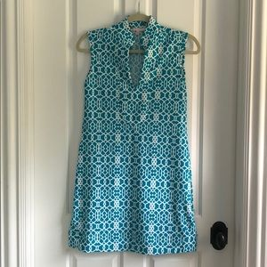 Jude Connally XS Aqua & White Geometric Dress